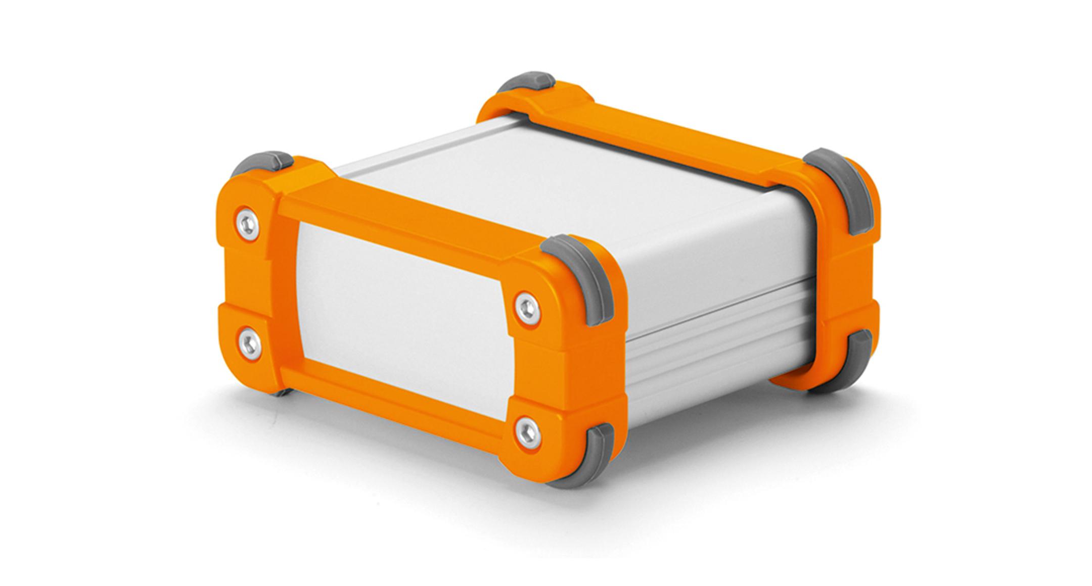 コーナーガード付アルミケース EXPシリーズ:シルバー/オレンジの画像