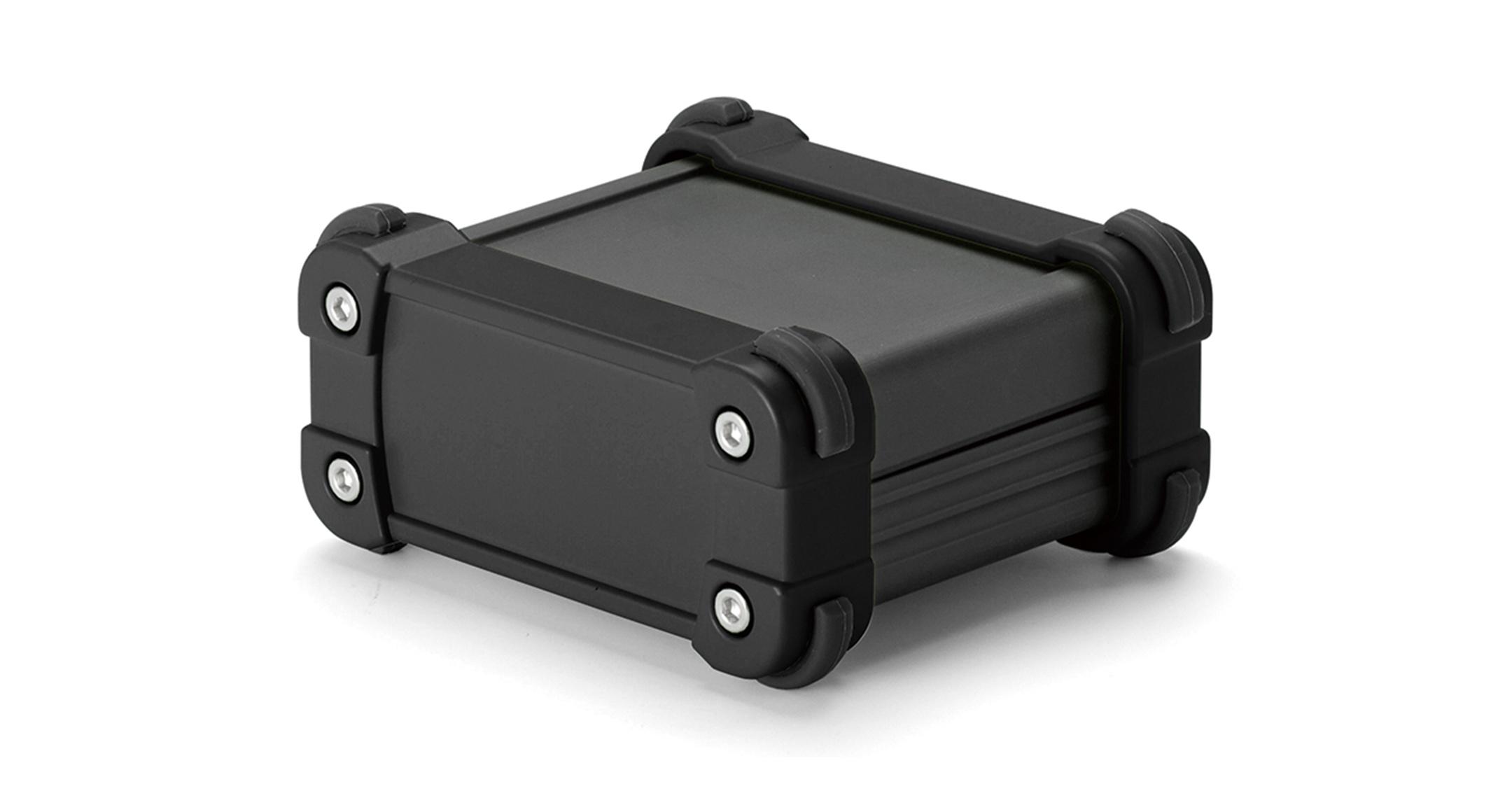 IP65コーナーガード付 防水アルミケース EXWシリーズ:ブラック/ブラックの画像