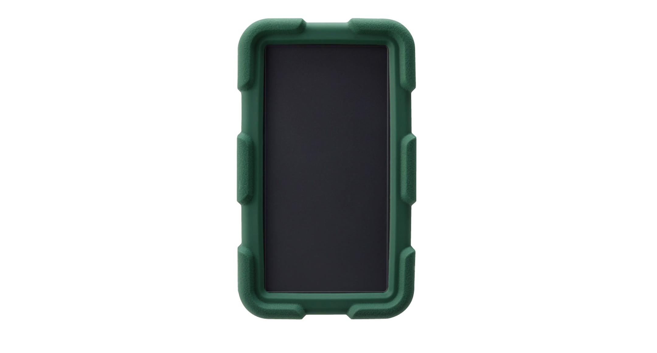 耐衝撃シリコンカバー付プラスチックケース LCTシリーズ:ダークグレー/グリーンの画像