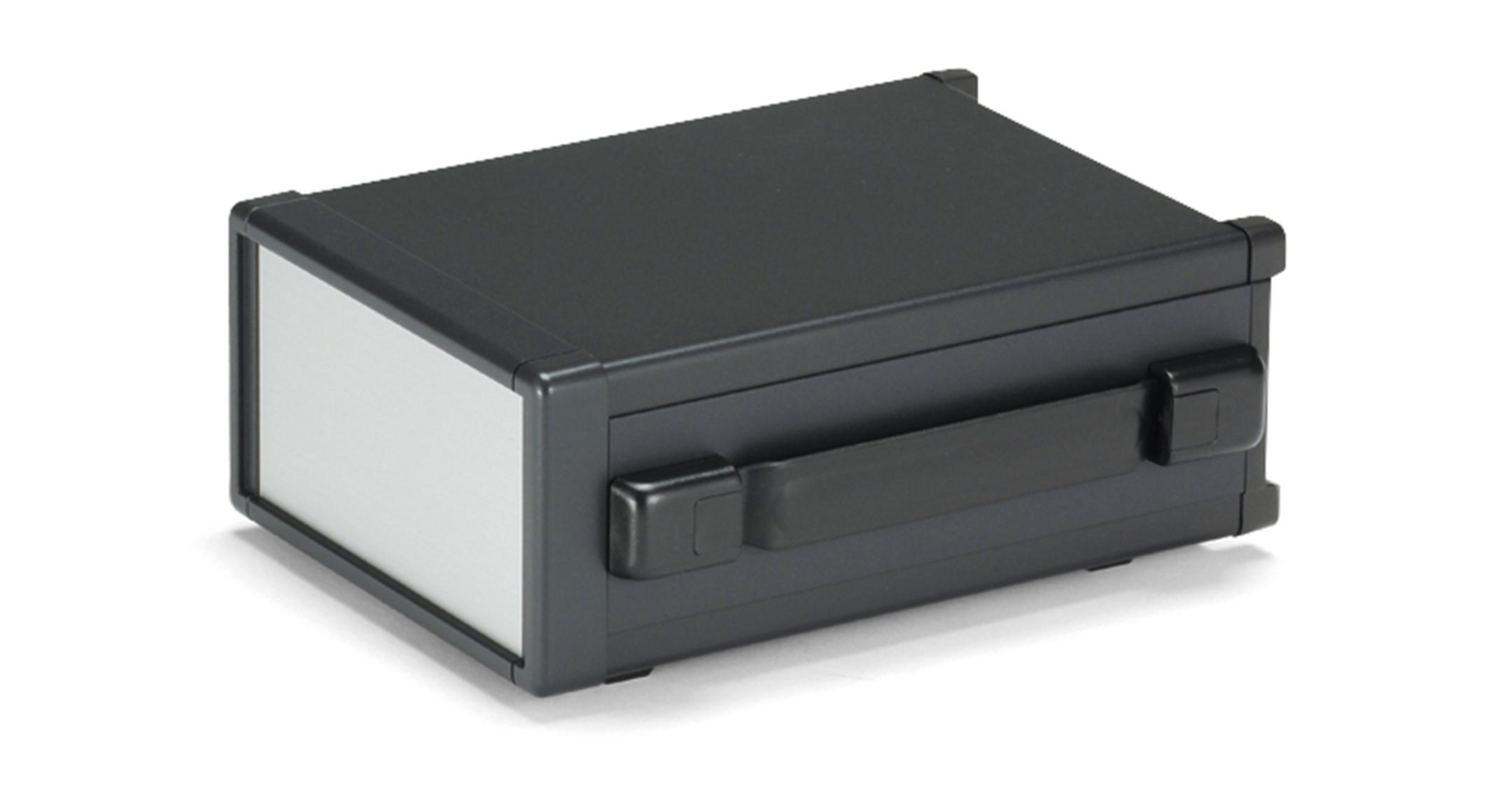 バンド取手付アルミシステムケース MOYシリーズ(上下カバーアルミ製):ブラック/シルバーの画像