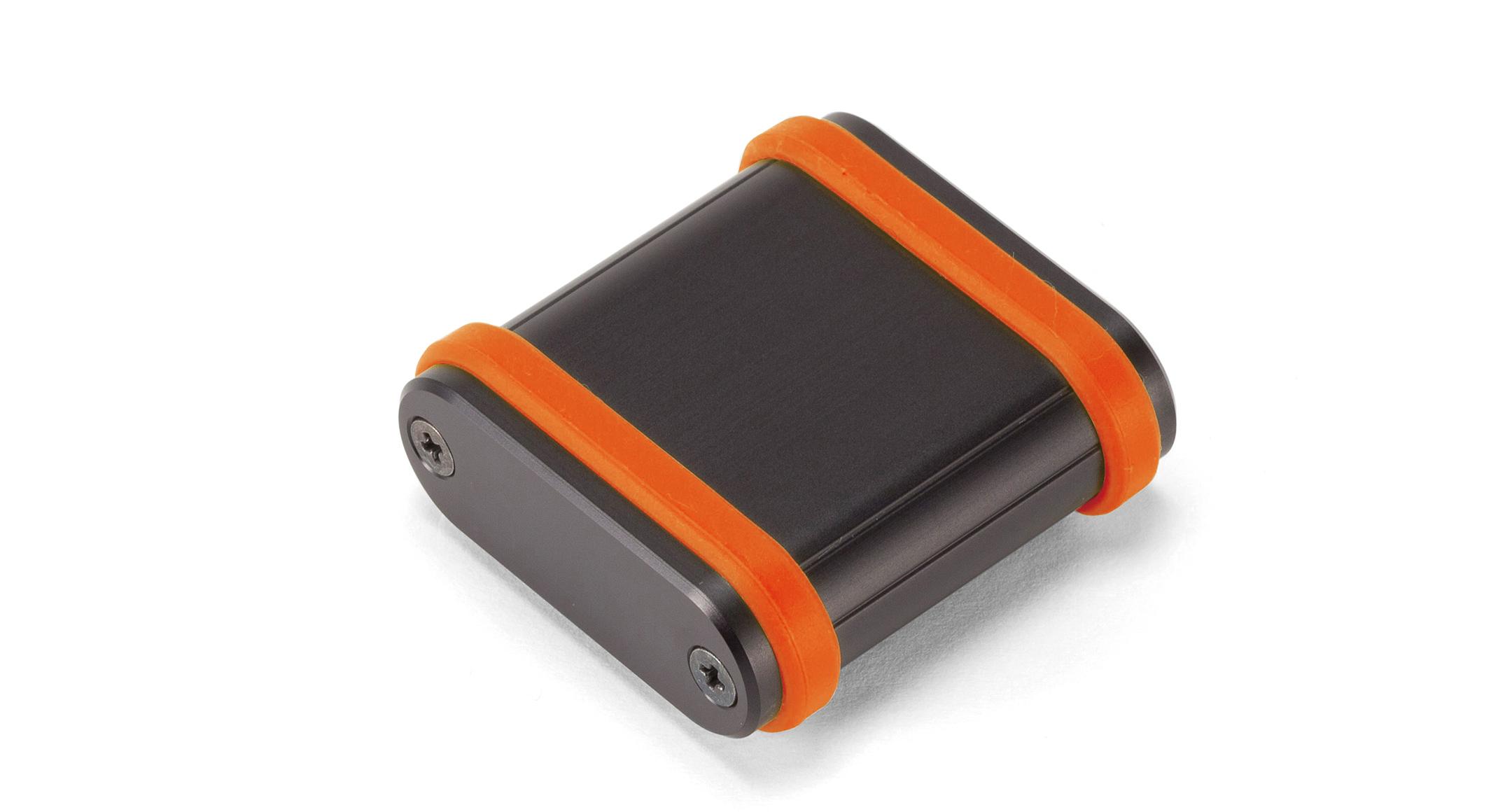シリコンバンド付モバイルケース MXBシリーズ:ブラック/オレンジの画像