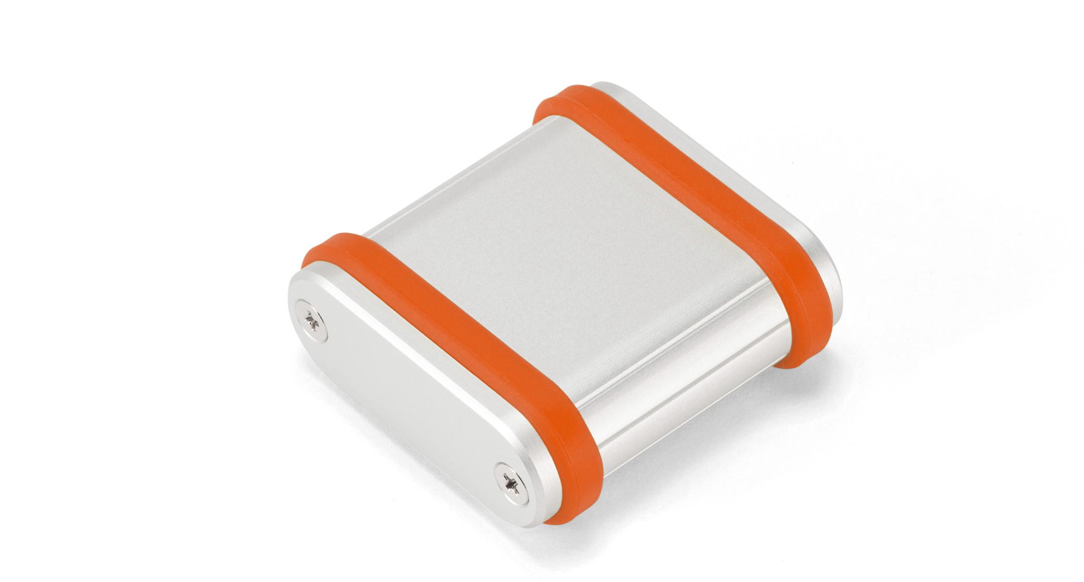 シリコンバンド付モバイルケース MXBシリーズ:シルバー/オレンジの画像