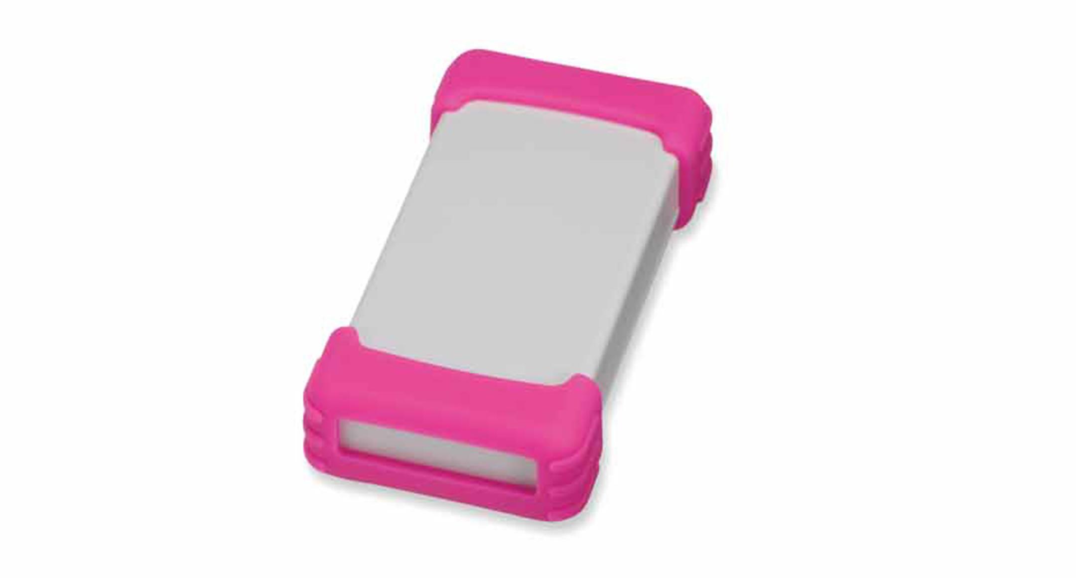 シリコンプロテクター付プラスチックケース TWSシリーズ:ライトグレー/ピンクの画像